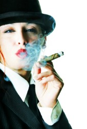 image of woman smoking a cigar